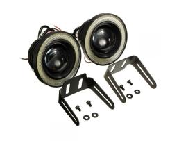 Комплект LED Диодни халогени Vertex с ангелски очи за дневни светлини 89мм 1кт.