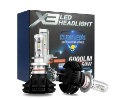 Комплект LED Лед Диодни Крушки за фар X3 Amio H7 - 50W 12000 Lm Над 200% по-ярка светлина. 1кт.