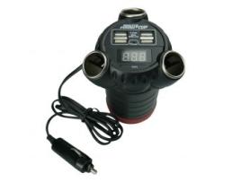 Мултифункционално зарядно устройство AUTO KING 12V/24V  4 USB + 3 Гнезда 1бр.