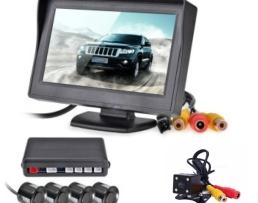 Система за паркиране Парктроник със зумер и 4броя сензори , Монитор 4,3инча , Камера със безжичен приемник/предавател 1кт.