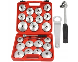 Комплект алуминиеви чаши за маслени филтри Autoexpress, 23 елемента, с тресчотка и ключ, M57611 1кт.