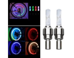 Светещи LED Капачки Vertex , комплект 2бр четири цветни за вентили на Велосипед или Мотор 1кт.