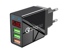 Мрежово 3x USB бързо зарядно устройство с LED дисплей | Quick Charge 3.0 бързо зареждане 1бр.