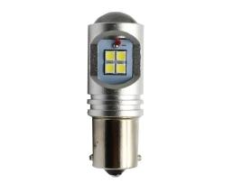 Комплект диодни Led , лед крушки за стоп и габарит Amio CANBUS 12SMD LED3030 BA15S 1156 (P21W) White 12V 1кт.