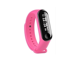Фитнес Смарт Гривна M3 Vertex Mi Band Tracker Смарт Wristband Крачкомер , Калории, Пулсомер ,Фитнес,Bluetooth,Напомняне за повикване,Розова 1бр.