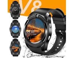 Смарт часовник AMIO Smart watch V8 с bluetooth, камера и SIM карта черен 1бр.