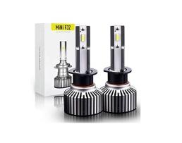 Комплект LED Лед Диодни Крушки за фар F32 Mini Amio H1  50W - 10800Lm 6000K Cool White Над 200% по-ярка светлина. 1кт.