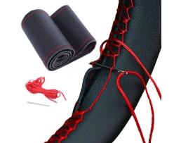 Калъф за волан Amio,За шиене,Изкуствена кожа ,Черен с червен конец ,Размер М 37-39мм 1бр.