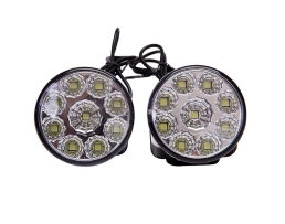 Комплект 9 LED Диодни Дневни светлини AMIO кръгли 1бр.
