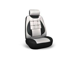 Калъфи за седалки Ekostar, тапицерия за предни и задни седалки , Пълен комплект от 6 части, черно+светло сиво 1кт.