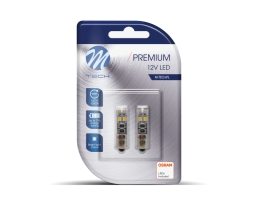 Комплект LED Крушки M-TECH, Premium, OSRAM Opto Semiconductors, Ba9s 8xSMD2835 CANBUS 1кт.