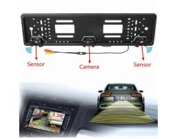 Парктроник с Камера за задно виждане комплект Vertex вградени в стойката/рамката за регистрационния номер 1кт.