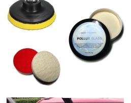 Комплект за отстраняване на драскотини от автомобилни стъкла, полиране  на фарове , огледала,оптични стъкла ,плексиглас и пластмаса . Филц полиращ 125мм + Държач за шкурки и гъби и филцове 125мм + Паста полираща Pollux 25г, PG025-1 1кт.