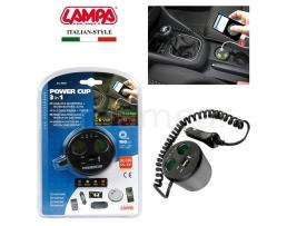 Мултифункционално зарядно устройство Lampa 39040 12V  2 USB + 2 Гнезда 1бр.