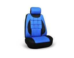 Комплект калъфи за седалки за кола Ekostar, тапицерия за предни и задни седалки ,Пълен комплект 6 части, черно + синьо  1084 1кт.