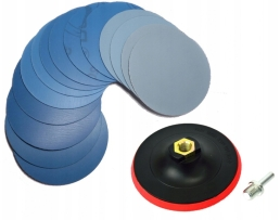 Комплект за шлифоване 14 броя водни шкурки P800-P3000 + диск държач 125мм + адаптер М14х6мм 1кт.