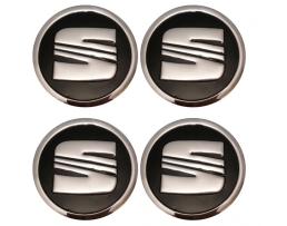 Стикери алуминиеви за капачки на джанти / декоративни тасове  универсални черни  4бр 55мм 1кт.