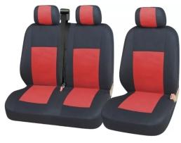 Тапицерия Car Line 2+1 Калъфи Седалки за Sprinter Vito Vw Crafter T5 Ford Transit Peugeot Черно+червено 1кт.