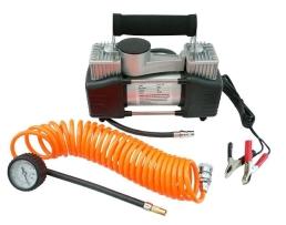 Авто компресор с манометър Carcommerce 12V, Двуцилиндров, с практична и удобна чанта 1бр.