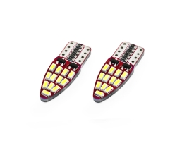 Комплект диодни Led , лед крушки за интериор,габарит,осветление номер Amio LED CANBUS  24 SMD 3014 T10e (W5W) White, 12V/24V 1кт.