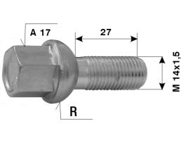 Болтове за джанти на леки автомобили №33 L27 M12x1,5 R A17 1бр.