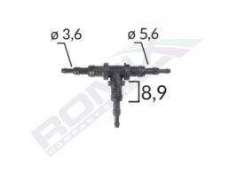 Връзка за стъклопочистваща система, тип Тройник, Пластмасов, Универсален, Ф- 3.6x5.6x8.9 mm, L-90мм/52мм 1бр.