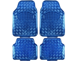 Комплект автомобилни стелки Eren, гумени никел ефект сини , Комплект 4 броя 1кт.