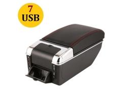 Подлакътник за автомобил Autoexpress, Барче, 7 USB, Универсален, Черна еко кожа с червен шев 1бр.