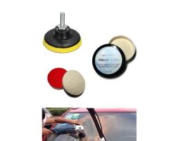 Комплект за отстраняване на драскотини от автомобилни стъкла Amirror Филц полиращ кръгъл 75мм , Държач за шкурки и гъби и филцове 75мм ,Паста полираща Pollux 25г, PG025-2 1кт.