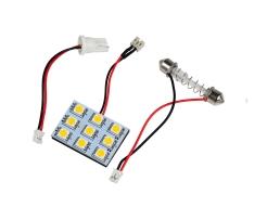 LED интериорна лампа за кола Vertex с 2 адаптера T10 , SV8.5  9 диода x 5050 SMD DC 12V в студено бяло 1бр.