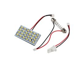LED интериорна лампа за кола Vertex с 2 адаптера T10 , SV8.5  24 диода x 5050 SMD DC 12V в студено бяло 1бр.