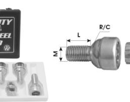 Гайка секретна за алуминиеви джанти на леки коли и джипове №168 L28 М12х1,5 C A21 с външен секрет 1кт.