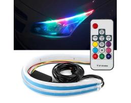 LED Диодни Дневни светлини RXZ Amio DRL RGB Car Light многоцветни + функция бягащ мигач 60см 1кт.