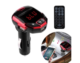 FM Трансмитер Iron Man  AutoMax Безжичен Bluetooth FM предавател с LCD екран 2 USB модулатор Автомобилен комплект MP3 плейър SD Remote Red 1бр.