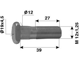 Болт барабанен за леки автомобили №179 395 М12х1,25х27 Ф12 ГлаваФ19х4,5 1бр.