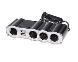 Разклонител за авто запалката с кабел, 1 гнездо за запалката + още 3 гнезда, 2 USB по 1A, TY-401 1бр.