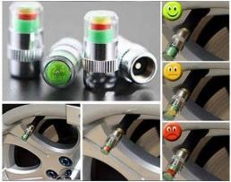 Капачки за вентили Vertex с индикатор за измерване налягането на гумите,съвместими свсички вентили на автомобили, мотоциклети и велосипеди 1кт.