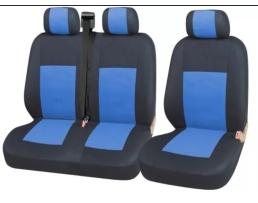 Тапицерия Car Line 2+1 Калъфи Седалки за Sprinter Vito Vw Crafter T5 Ford Transit Peugeot Черно+синьо 1кт.