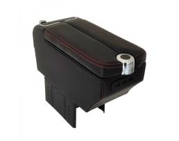 Универсален подлакътник за кола със 3USB държач за чаша, пепелник черна кожа с червен конец