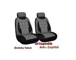 Калъфи за седалки Ekostar, тапицерия за предни и задни седалки, Пълен комплект 6 части,Сива 1кт.