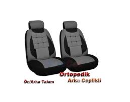Комплект калъфи за седалки Andromedia, тапицерия за предни и задни седалки, Пълен комплект от 8 части, Тъмносив 1кт.