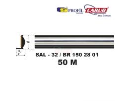 Лайсна декоративна никел + черно 14мм S профил 1м.