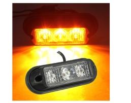 Блиц AMIO 3-LED предупредителни мигащи светлини Универсални 12V-24V аварийни маяци мигаща лампа за страничен маркер за мотоциклет,бус,камион камион 1бр.