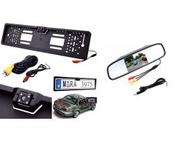 Система за паркиране камера в стойката за номер и дисплей в огледалото за обратно виждане 1кт.
