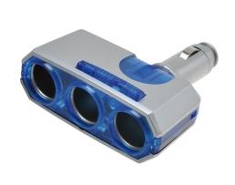 Разклонител за автозапалката с чупещо рамоAutomax , 3 гнездаи синя подсветка 1бр.