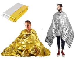 Термо одеяло за оцеляване 160см-210см жълт/сребърен 1бр.