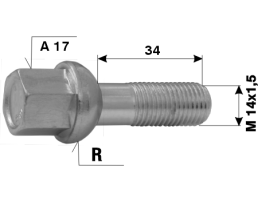 Болтове за джанти на леки автомобили №62 L34 M14x1,5 R A17 1бр.