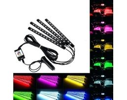 Комплект LED Лед Диодни ленти за интериорно осветление Amio 12SMD 5050 4бр многоцветни ленти с контролер и дистанционно управление 1кт.