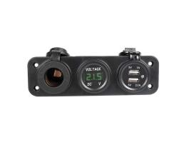 Зарядно за кола AMIO ,3 в 1,Волтметър,USB зарядно двойно 5V 1A,5V 2.1A,Гнездо за запалка 1бр.